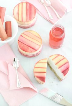 rhubarb-wrapped pineapple mousse cake {So incredibly pretty! But I don't like rhubarb. And I don't really like pineapple in things, just on its own. Fancy Desserts, Köstliche Desserts, Delicious Desserts, Yummy Food, Plated Desserts, Sweet Recipes, Cake Recipes, Dessert Recipes, Food Cakes