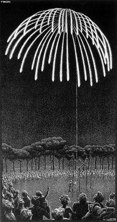 Fireworks - M.C. Escher, 1933 lithograph