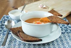 Creamy Smoked Paprika Sweet Potato and Dill Soup with Butter Grilled Garlic Rye Crisps