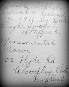 A note in my grandmother, Margaret's, handwriting. Her father was the monumental mason who carved the tablets that were installed at St. Church Of England, Handwriting, Father, Carving, Notes, Calligraphy, Pai, Hand Type, Wood Carvings