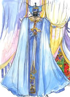 Final Fantasy V - Tycoon Concept Art - Yoshitaka Amano