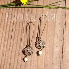 Boucles d'oreilles beige et bronze par bijoux bleu bohème
