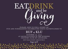 Eat, Drink and Be Giving Fundraiser Fundraising Dinner Cocktail Party Silent Auction Invitation-FREE SHIPPING or DIY printable