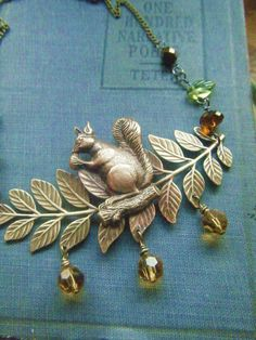 Squirrel on Branch Necklace metalwork with by PhenomenaJewelry, $100.00