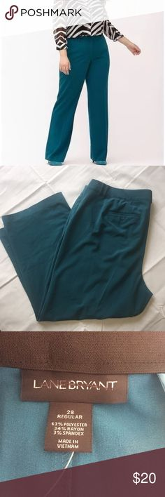 "Lane Bryant The Lena Trouser Pants Tighter Tummy Lane Bryant The Lena Trouser Pants With Tighter Tummy Technology Teal 28 Inseam 29"" Rise 16"" Lane Bryant Pants Straight Leg"