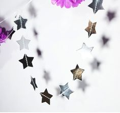 Silver or Gold Metallic Star Banner with Ribbon by BonFortune
