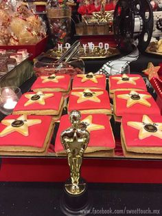 Star cookies at a Hollywood Oscar birthday party! See more party planning ideas at CatchMyParty.com!