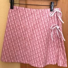 f2fc29f4619 BIN 135£ Pink Dior monogram tie up skirt New with tags Would fit w26