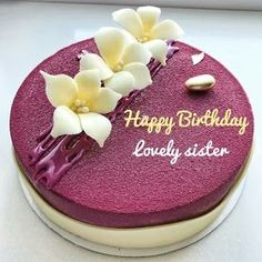 Magenta Color Birthday Cake With Name For Sister - Birthday Cake Vanilla Ideen Happy Birthday Sister Cake, Birthday Cake Write Name, Heart Birthday Cake, Doll Birthday Cake, Birthday Cake Writing, Fruit Birthday Cake, Creative Birthday Cakes, Birthday Cake For Husband, Special Birthday Cakes