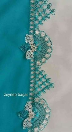 This Pin was discovered by Zey Zig Zag Crochet, Filet Crochet, Bead Crochet, Crochet Lace, Crochet Stitches, Embroidery Stitches, Embroidery Designs, Crochet Necklace, Hand Embroidery Dress