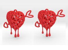 Blender + JewelCraft + Fluid Designer for Printing Heart Earrings, Arrow, 3d Printing, Jewellery, Create, Design, Impression 3d, Heart Pendants, Jewelery