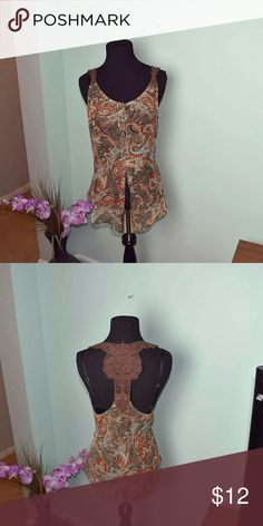 Super Cute Bronze Paisley Slit Blouse In excellent condition. Worn once ever. Tops Blouses