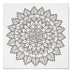Spend some time relaxing with this coloring page for adults. Once finished, you can hang it on your wall or give it as a gift. Coloring is known to reduce tension and stress, so get started on de-stressing with this piece of art. #zazzlemade #mandala #coloringpage #coloring #coloringforadults #poster