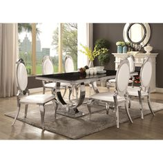 Shop for Luxurious Modern Design Stainless Steel Dining Set with Black Glass Table Top. Get free delivery at Overstock - Your Online Furniture Shop! Get in rewards with Club O! Solid Wood Dining Set, Dining Table With Bench, 7 Piece Dining Set, Dining Table Design, Dining Room Sets, Dining Chair Set, Dining Room Table, Stainless Steel Dining Table, Steel Table