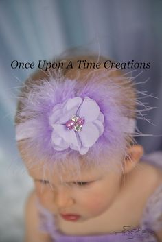 Lavender Feather Flower Newborn Headband - Newborn Baby Girl Chiffon Flower Marabou Puff Headband - Baby Purple Hair Bow Photo Prop
