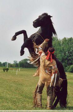 Spectacle démonstration dressage, indien d'Amérique