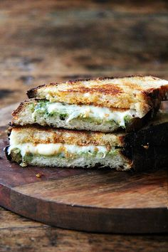 This 'nduja grilled cheese includes Wisconsin fontina, a great melting cheese, and basil pesto, to offer a fresh counterpoint to the richness of the pâte-like spread. In keeping with the Italian theme, I sandwiched the three ingredients between thick slices of ciabatta, whose porous crumb so nicely absorbed the flavors of the spicy 'nduja and sweet, earthy fontina. Yum.