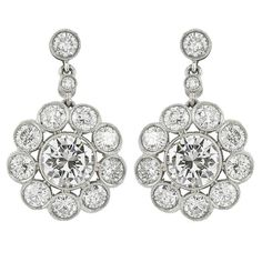 5.03 Carat Diamond Cluster Earrings | From a unique collection of vintage dangle earrings at https://www.1stdibs.com/jewelry/earrings/dangle-earrings/