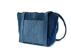 Denim Jean Quilted Purse Upcycled Recycled por SuzqDunaginDesigns, $65.00