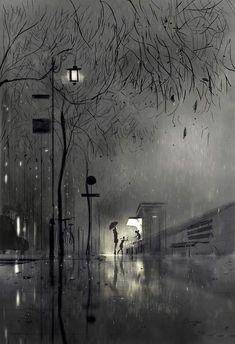 """The flower kiosk"" Pascal Campion digital illustration Pascal Campion, Arte Black, Rain Art, Ouvrages D'art, Painting & Drawing, City Drawing, Rain Painting, Art Inspo, Amazing Art"