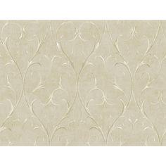York Wallcoverings Metallics Delicate Scroll Wallpaper in Light Taupe