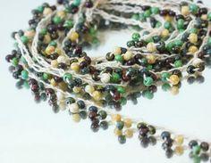 Long Necklace  Crochet Bead Boho Jewelry  Summer by beadedwire