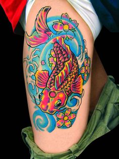 The colors are so amazing. I can't believe it! I definitely want a tattoo with bright colors like this!