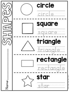 Shapes Fold and Flip Book Shape Worksheets For Preschool, English Activities For Kids, English Worksheets For Kids, English Lessons For Kids, Preschool Writing, Kindergarten Math Worksheets, Homeschool Kindergarten, Math For Kids, Preschool Learning