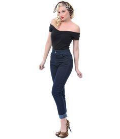 Denim Norma Jean Cigarette Pants - Unique Vintage - Prom dresses, retro dresses, retro swimsuits.