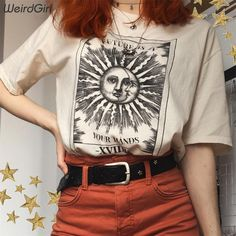 Weirdgirl women casual fashion t-shirt khaki letter sun moon print loose o-neck half sleeve elastic stretched summer home new – T-Shirts & Sweaters Casual Mode, Moda Casual, Style Casual, Women's Casual, Casual T Shirts, Casual Outfits, Cute Outfits, Fashion Outfits, Womens Fashion