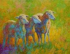 Sheep Trio by Marion Rose Acrylic ~ 14 x 18