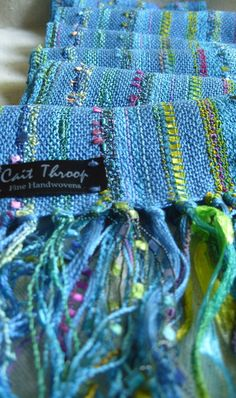 Handwoven Scarf Blue Skies Woven Shawl by barefootweaver on Etsy, $84.00 Love these colors! and the use of novelty yarn.
