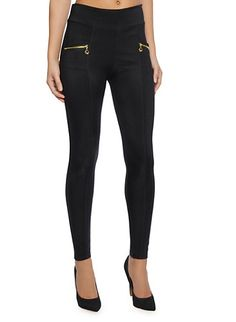 Solid Leggings with Two Exposed Zipper Pockets