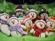 Handmade Sculpey Clay Snowmen Ornaments (se