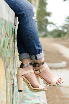 3d77b25f2ae6 I love these chunky high heal sandals.