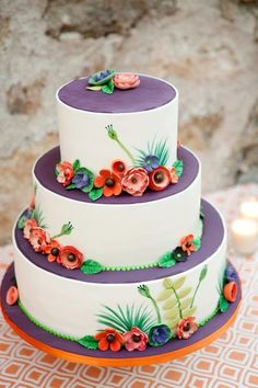 vegan and gluten-free wedding cake - whimsical floral wedding cake - just because you don't eat dairy, flour, eggs, cream.doesn't mean you can't have your cake and eat it too Floral Wedding Cakes, Cool Wedding Cakes, Beautiful Wedding Cakes, Gorgeous Cakes, Wedding Cake Designs, Pretty Cakes, Amazing Cakes, Perfect Wedding, Whimsical Wedding