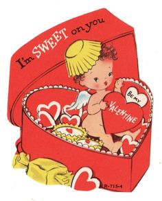 "CUPID ANGEL IN HEART SHAPED BOX OF CANDY - ""I'M SWEET YOU"" / VTG VALENTINE CARD"