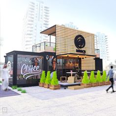 Container design for coffee shop, we provide all kinds of advice and Designs with containers, contact us. Cafe Exterior, Restaurant Exterior, Restaurant Design, Restaurant Bar, Exterior Shutters, Modern Exterior, Container Buildings, Container Architecture, Architecture Design