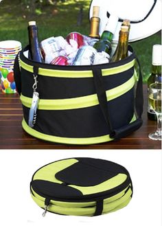 Pop up cooler bag This compact collapsable cooler is leak proof and food safe. The top zips fully open to pack and has a pop top in the lid for easy access to beverages.  Easy to carry with carry straps. Compresses flat for storeage. D 34 cm x 23 cm £49.00