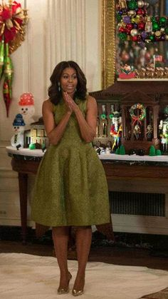 First Lady Michelle Obama Christmas at the White House 2015