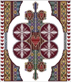 Vickery Collection Celtic February - Cross Stitch Pattern. Model stitched on 16 ct White Aida using DMC floss. Stitch count 156x182.