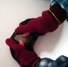 Cell Phone TXT UR MITTENS Handmade Upcycled Sweater Mittens TXT ON THE GO