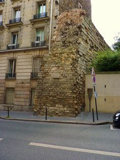 Remains of the enclosure Philippe august, 12th century *..Ancient wall in Paris