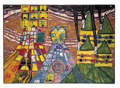 Painted in Kaurinui, Bottlehouse, August 1998 - January 1999 Friedensreich Hundertwasser, Paintings, Art, Idea Paint, Kunst, Paint, Painting Art, Painting, Painted Canvas