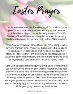 Easter prayer does you and your family to use on Resurrection Sunday! Easter Scriptures, Easter Prayers, Prayer Quotes, Prayer Ideas, Quotes Quotes, Easter Quotes, Inspirational Prayers, Thing 1, Faith Prayer