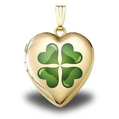 "14K Yellow Gold ""Green #Four #Leaf #Clover"" Sweetheart #Locket $249.95"