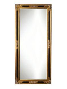 Spiegel - Debora- zwart / antiek goud - buitenmaten breed 80 cm x hoog 110 cm.