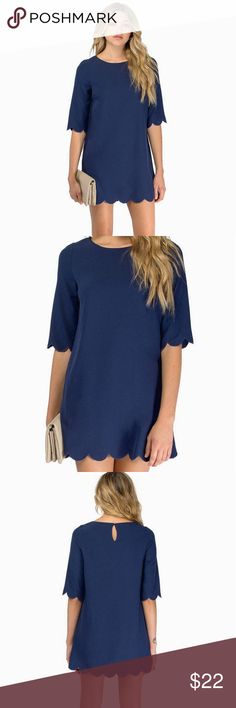 Tobi Sweetly Scalloped Navy Shift Dress Sweetly Scalloped Shift Dress. Scalloped hem shift dress. Features a loose quarter sleeve with soft scalloped edges and a single button back keyhole closure. Worn once, great condition. Tobi Dresses