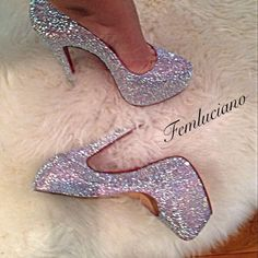 Christian Louboutin Silver Sparkle High Platform Red Sole Pump