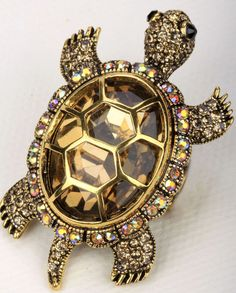 Gold brown tortoise turtle pin brooch pendant charm BA15 JEWELRY ring AVBL